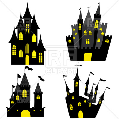 400x400 Set Of Halloween Black Castles Royalty Free Vector Clip Art Image