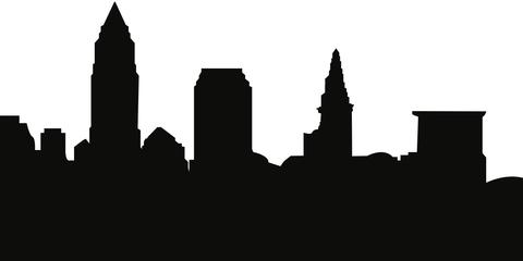 480x240 Cleveland, Ohio Skyline Silhouette Cityscape Purses And Pillows