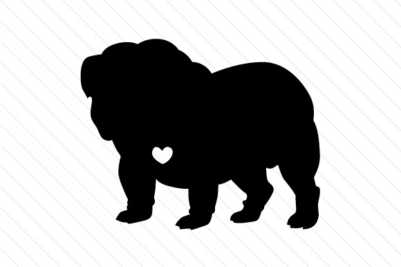 580x386 English Bulldog Silhouette With Heart Svg Cut File By Creative