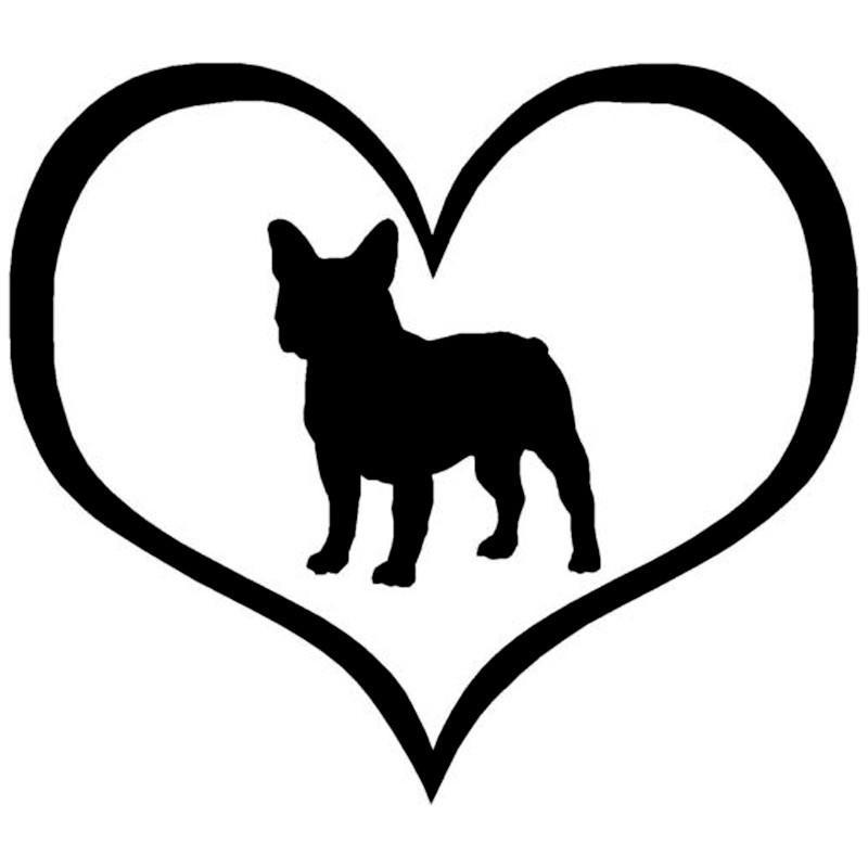 800x800 French Bulldog Silhouette In Heart Vinyl Sticker My French