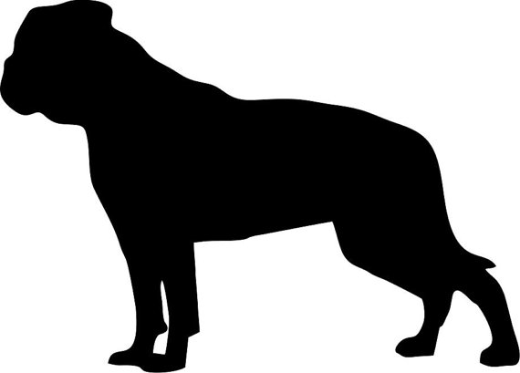 570x409 American Bulldog Silhouette Custom Die Cut Vinyl Decal Sticker