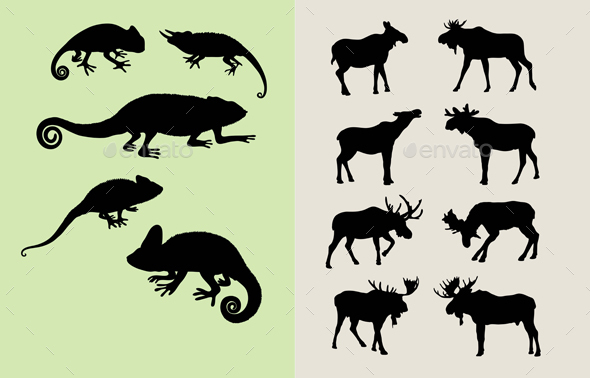 590x378 Bull Moose And Lizard Silhouettes By Martinussumbaji Graphicriver