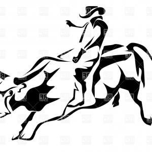 300x300 Bull Riding Rodeo Cowboy Drawing Vector Createmepink