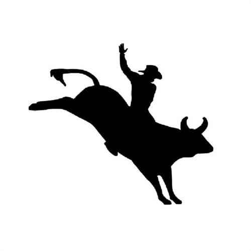 500x500 Cowboy Bull Riding Rider Silhouette