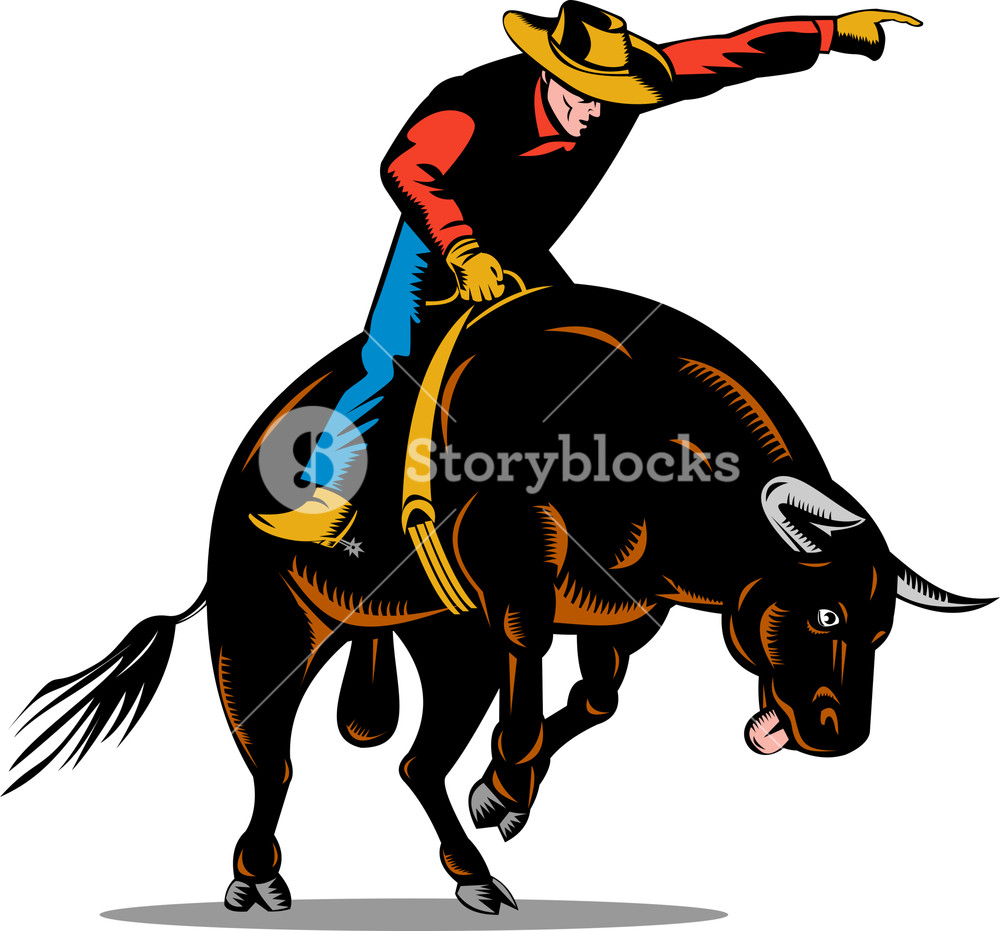 1000x931 Rodeo Cowboy Horse Bull Riding Silhouette Royalty Free Stock Image