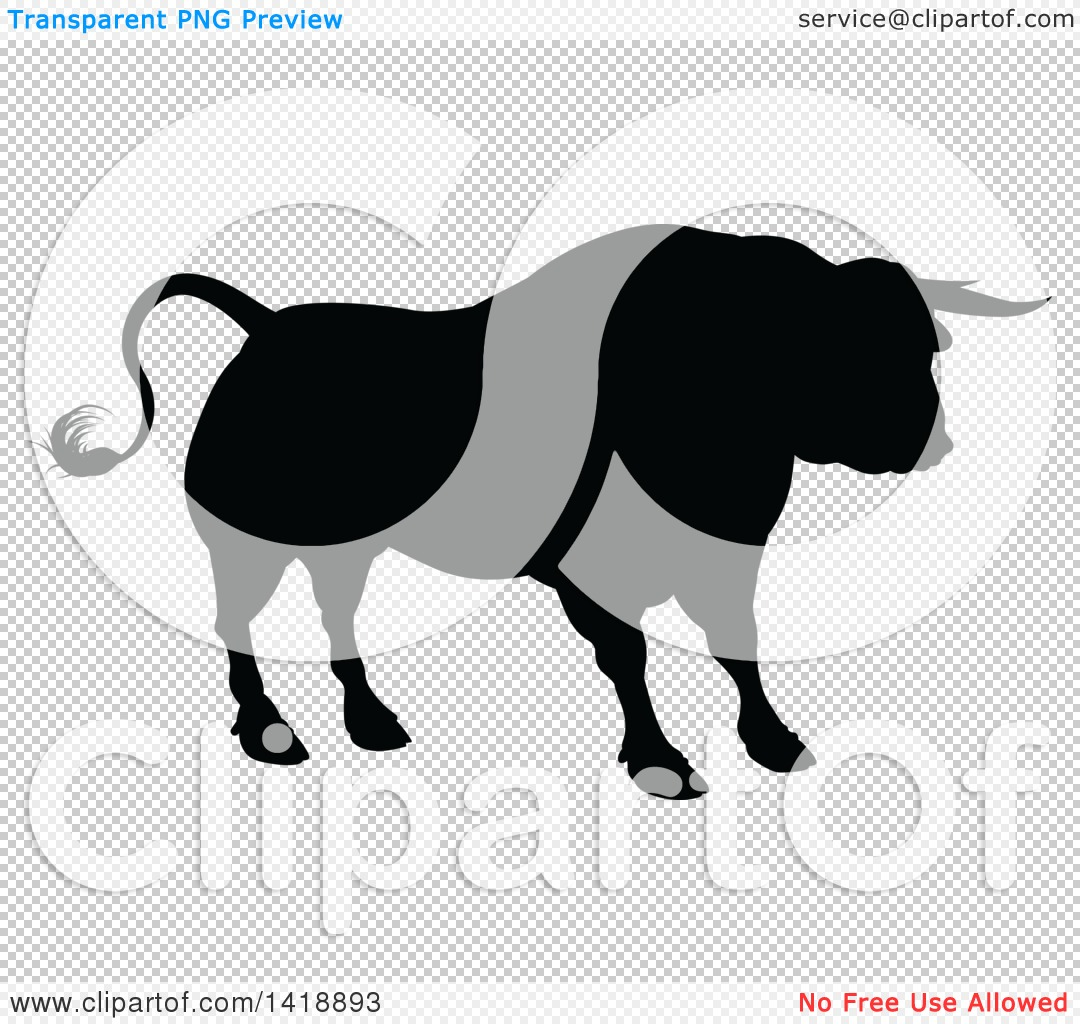 1080x1024 Clipart Of A Silhouetted Black Bull