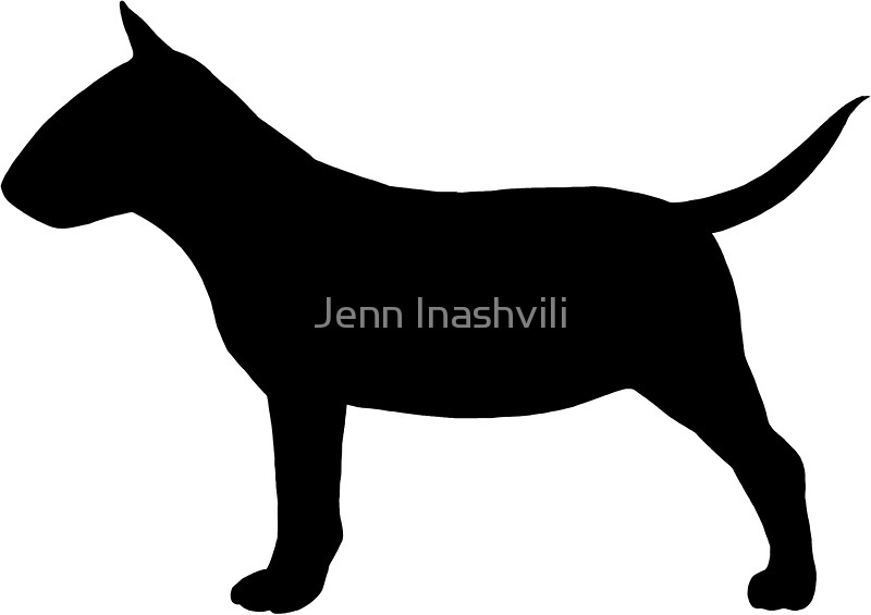 800x565 Miniature Bull Terrier Silhouette(S) Stickers By Jenn Inashvili