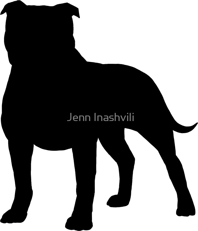 687x800 Staffordshire Bull Terrier Silhouette(S) Stickers By Jenn