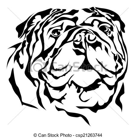 450x457 Bulldog Vector Silhouette On White Background Eps Vector