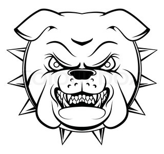 320x300 Vector Image Of An Dog Face (Bulldog) On White Background Stock
