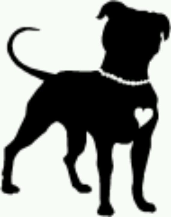 570x720 Pitbull Dog Head Silhouette