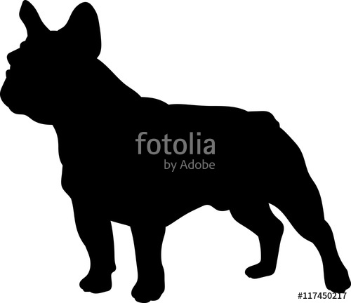 500x432 French Bulldog Vector Silhouette Stock Image And Royalty Free