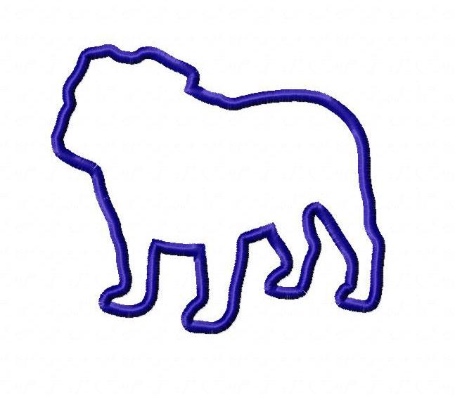 647x566 Applique Bulldog Silhouette Machine Embroidery Design