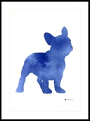 187x250 Blue French Bulldog Silhouette Art Print Watercolor Painting