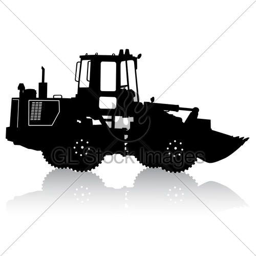 500x500 Silhouette Of A Heavy Loaders With A Ladle. Vector Illust Gl
