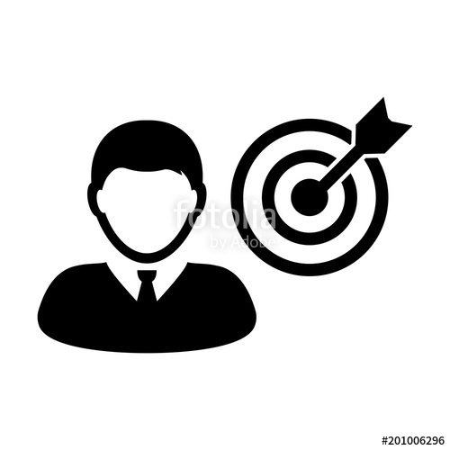 500x500 Person Icon Vector With Target Bullseye Goal In Dartboard Symbol
