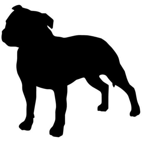 480x480 Pit Bull Silhouette No Ear Crop Small Sticker Barking Bullies