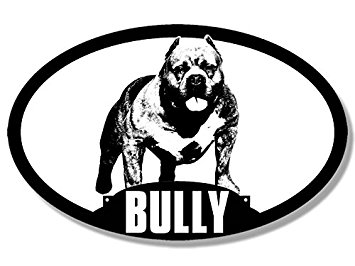 355x266 Oval Dog Breed American Bully Silhouette Sticker (Pit