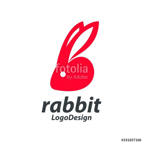 500x500 Red Rabbit Head Logo, Red Bunny Head Silhouette Design Logo Vector