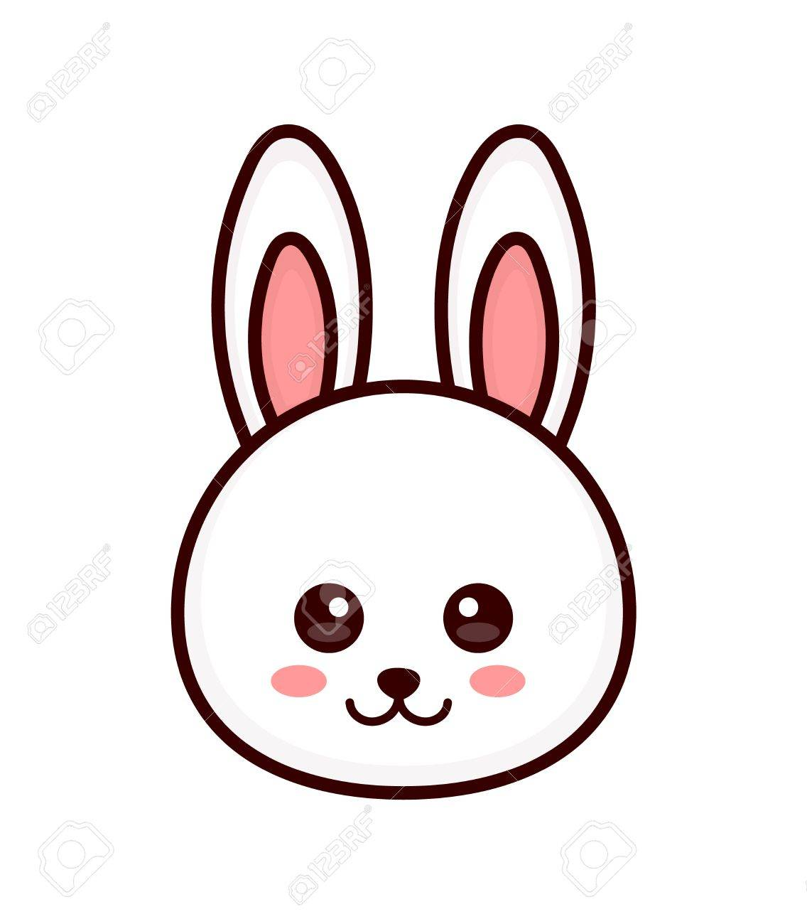 1136x1300 Trend Bunny Face Outline Cute Rabbit Vector Modern Line Flat Style