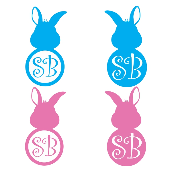 600x600 Bunny Monogram Svg Cuttable Frames