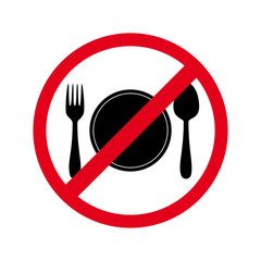 240x240 Circular, No Food Allowed Sign. Red Gradient Sign, Black Drink