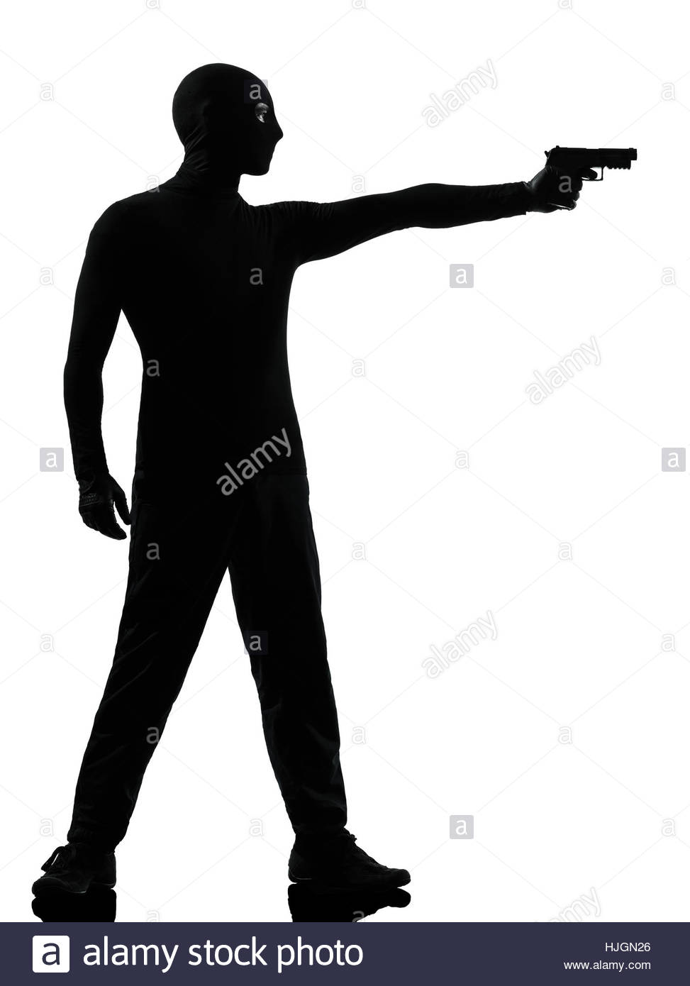 973x1390 Thief Criminal Terrorist Man Aiming Gun In Silhouette Studio