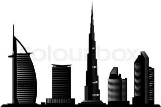 320x212 Dubai Uae Skyline Detailed Vector Silhouette Stock Vector
