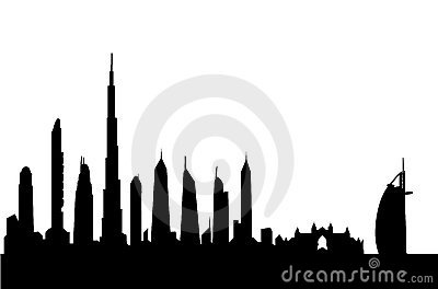 400x264 Silhouette Of Dubai With Burj Al Arab And Burj Khalifa Siluet