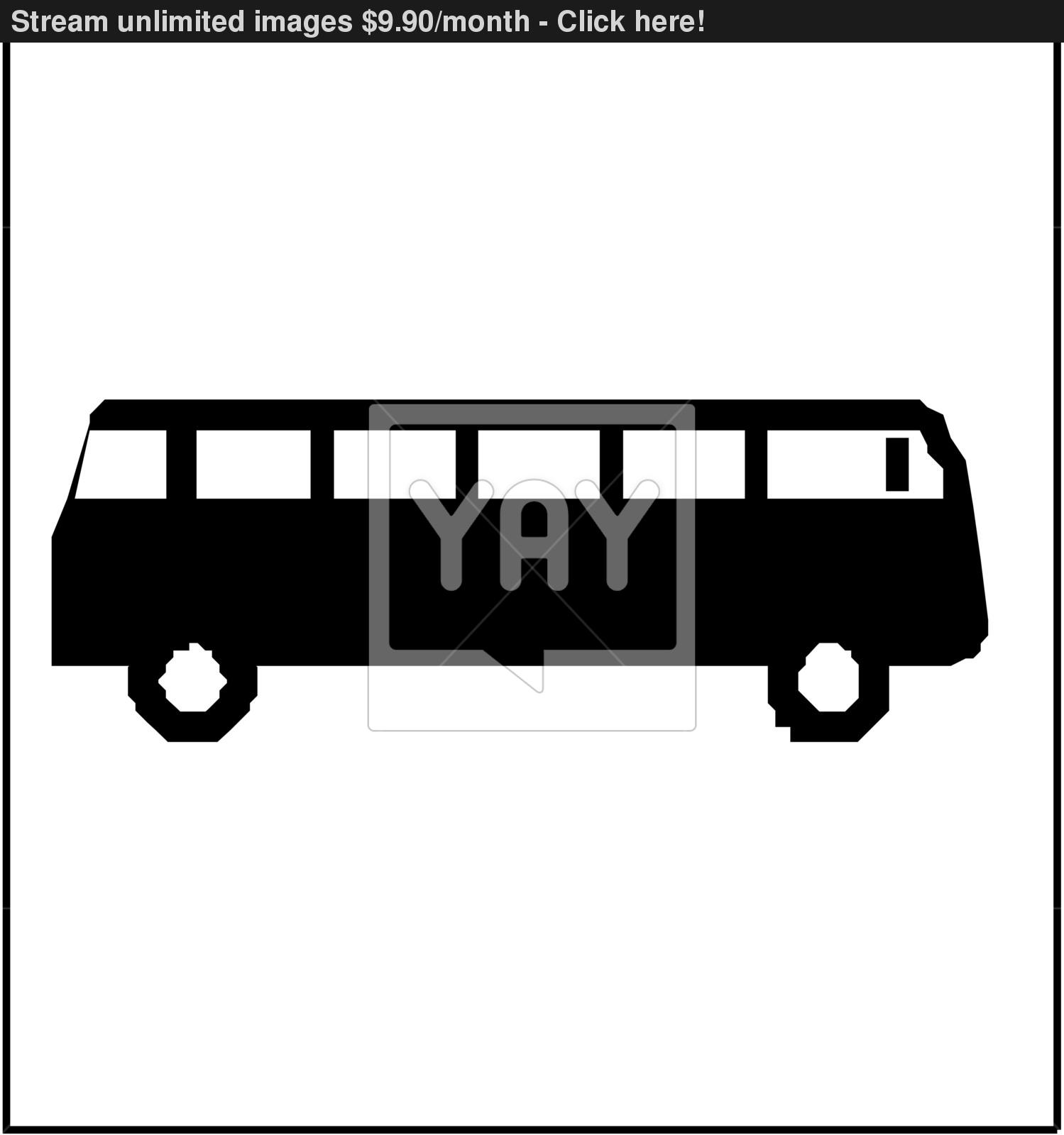 1499x1600 Black Silhouette On A Bus. Vector Illustration. Vector