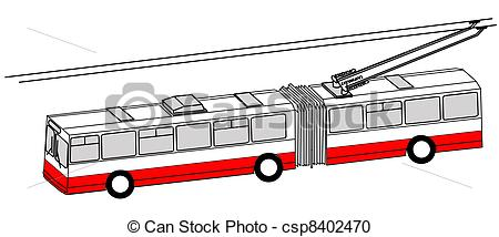 450x214 Trolley Bus Silhouette On White Background Stock Illustration