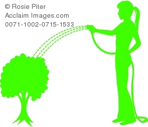 300x258 Illustration Of A Silhouette Of A Woman Watering A Bush