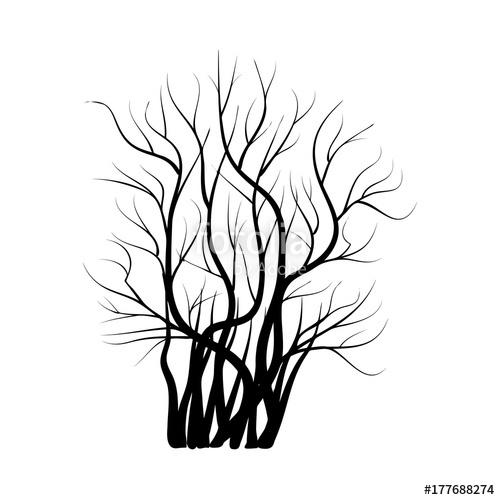 500x500 Bush With Bare Branches Icon Symbol Design. Vector Illustration