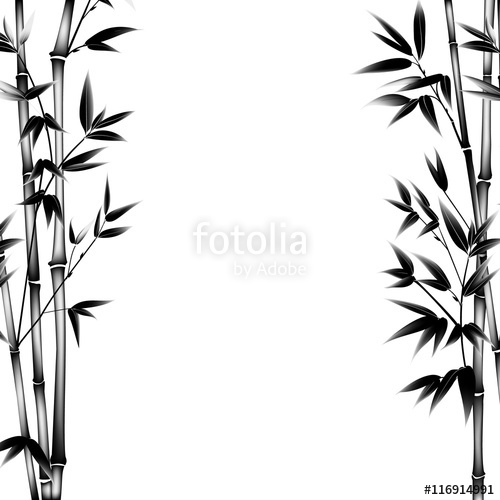 500x500 Ink Paint Bamboo Bush. Decorative Bamboo Branches. Card With Black