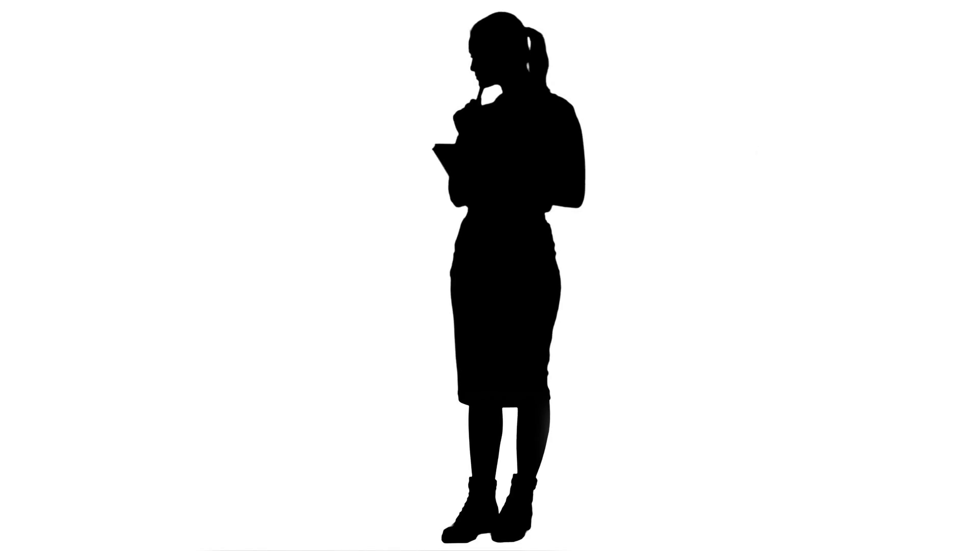 1920x1080 Silhouette Attractive Business Woman Makes Some Calculations
