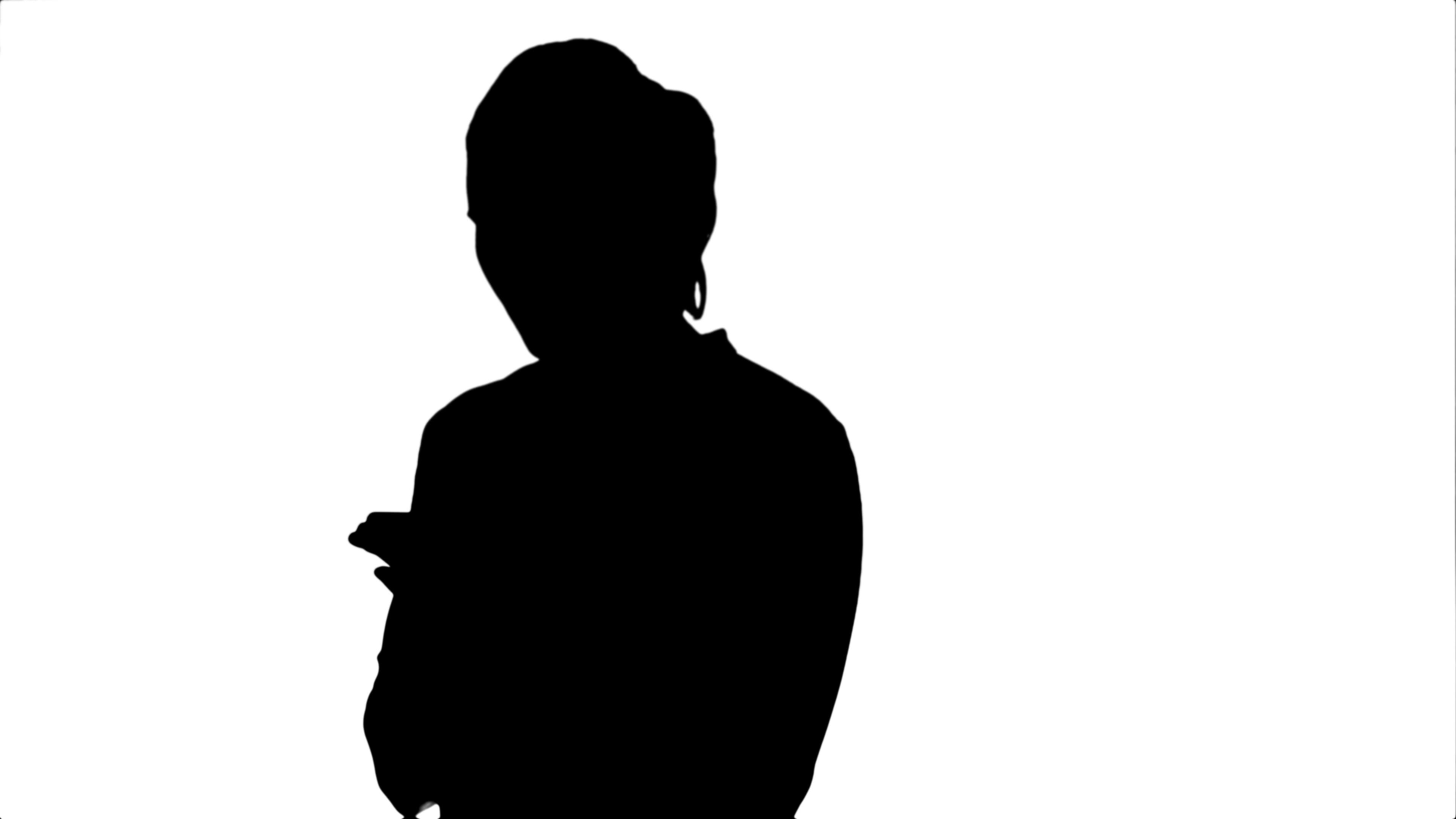 3840x2160 Silhouette Pensive Business Woman Using Mobile Cell Phone Reading