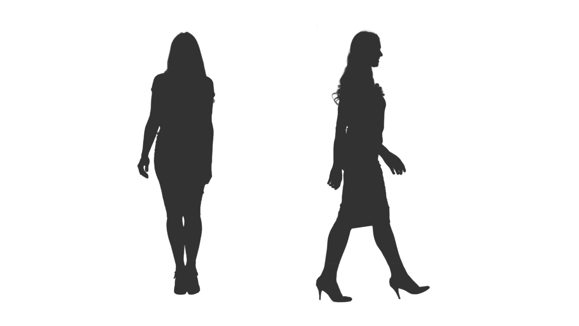 1920x1080 Silhouette Of Walking Business Woman On Transparent Background, 2