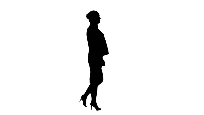 852x480 Walking Business Lady (Loop With Alpha Key) Stock Footage Video