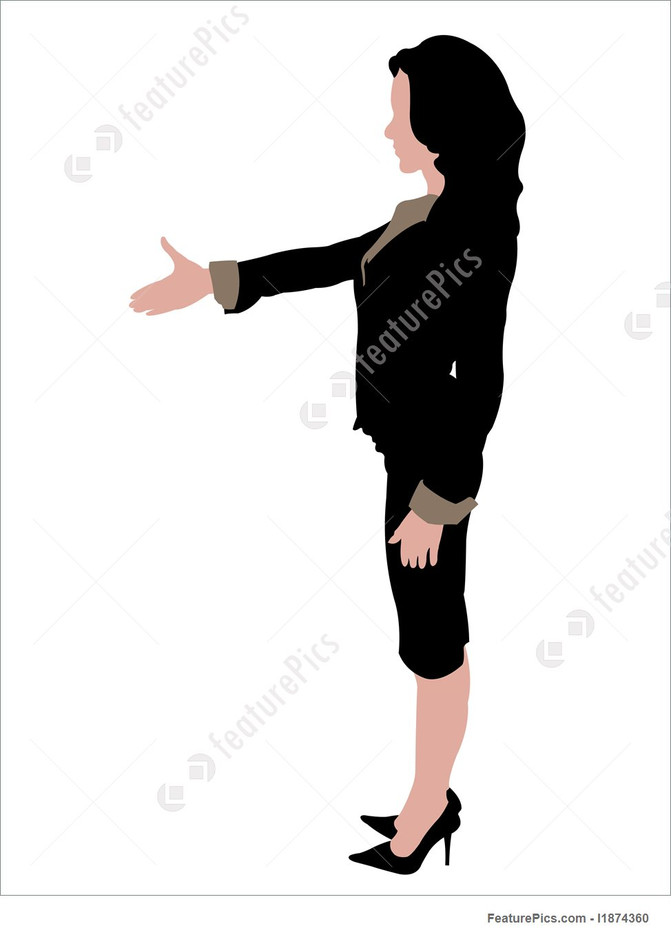 974x1360 Business Lady With Shake Hand Illustration