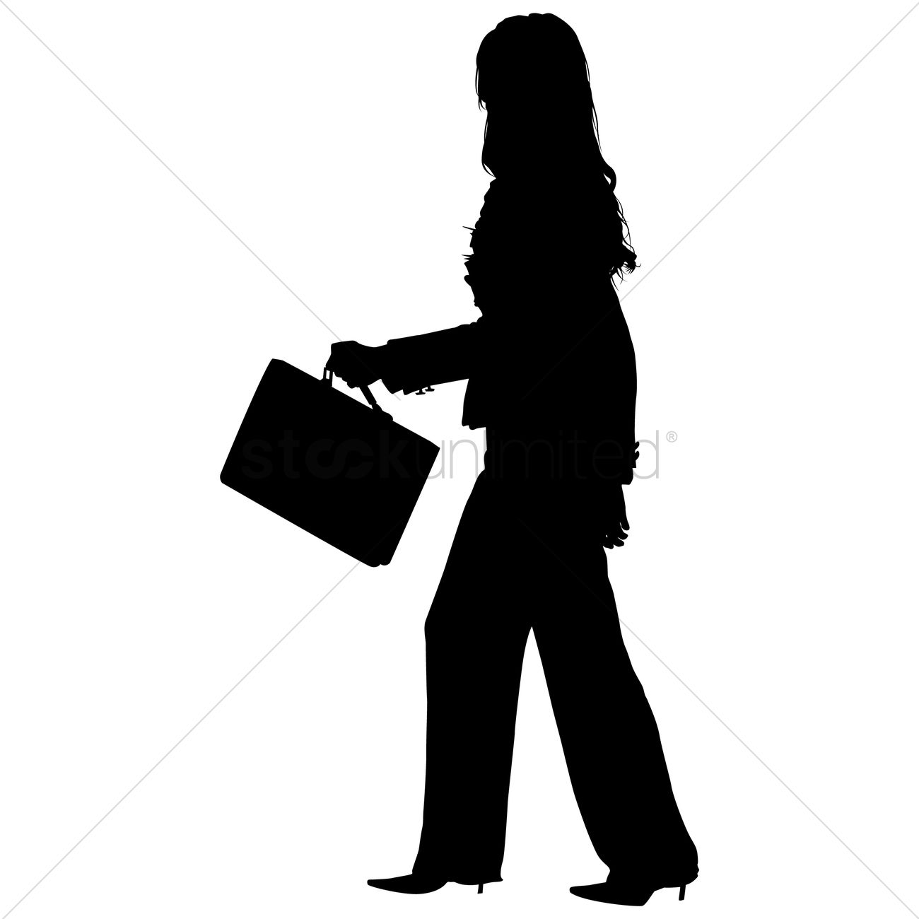 1300x1300 Businesswoman With Briefcase Silhouette Vector Image