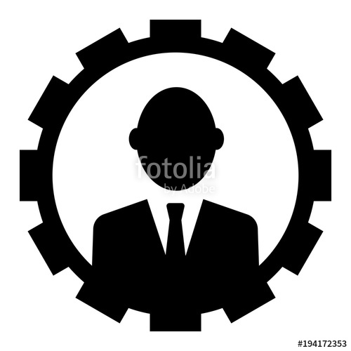 500x500 Circular Businessman Silhouette (Avatar) Icon. Businessman In