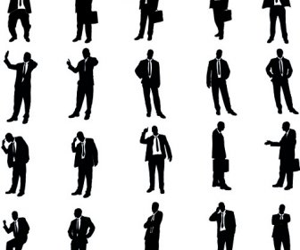336x280 Vector Set Of Businessman Silhouettes Graphics Vector Silhouettes