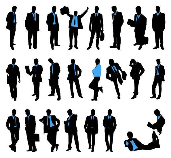 594x549 Businessman Silhouettes Set, Vectors