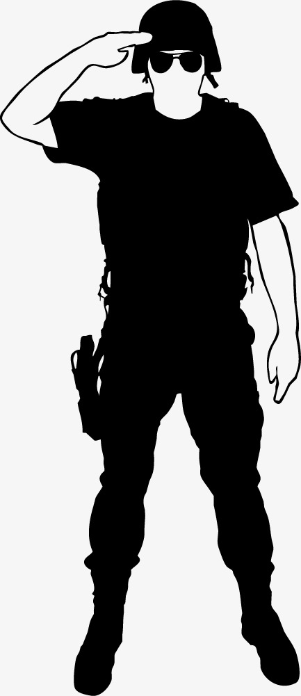433x1001 Black Armed Police Figure Silhouette, Black, Business, Silhouette