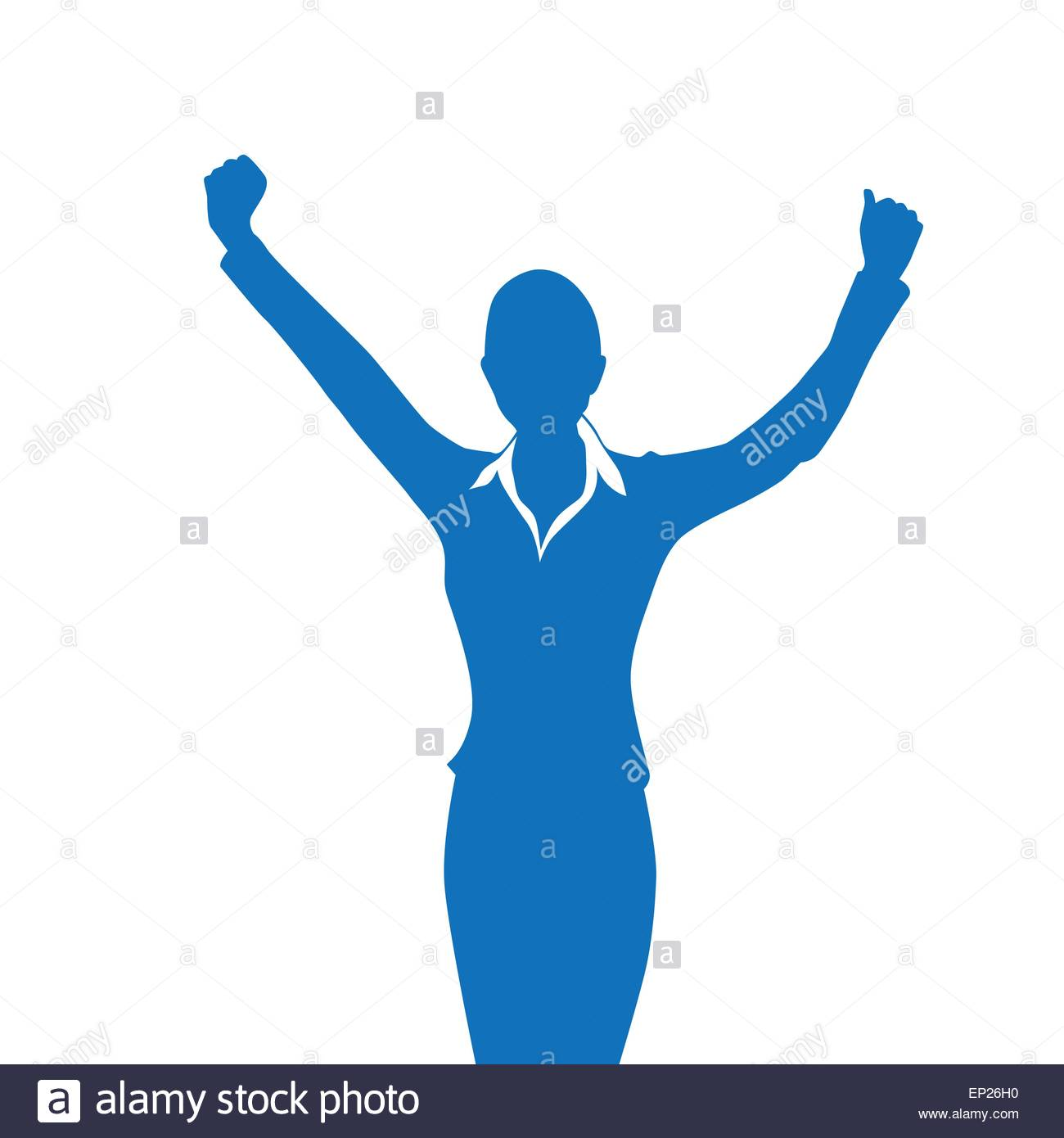 1300x1390 Business Woman Silhouette Excited Hold Hands Up Raised Arms Stock