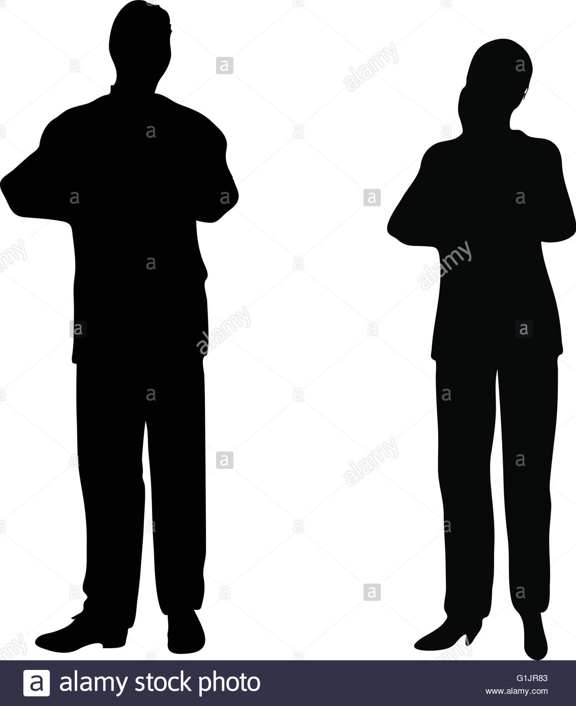 1133x1390 Eps 10 Vector. Business People Standing Still In Silhouette Stock