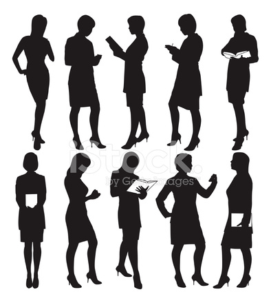394x440 Business Woman Silhouettes Stock Vector