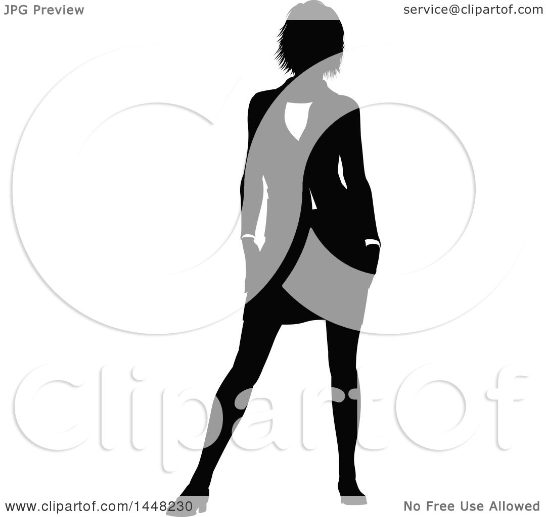 1080x1024 Clipart Of A Black And White Silhouetted Business Woman