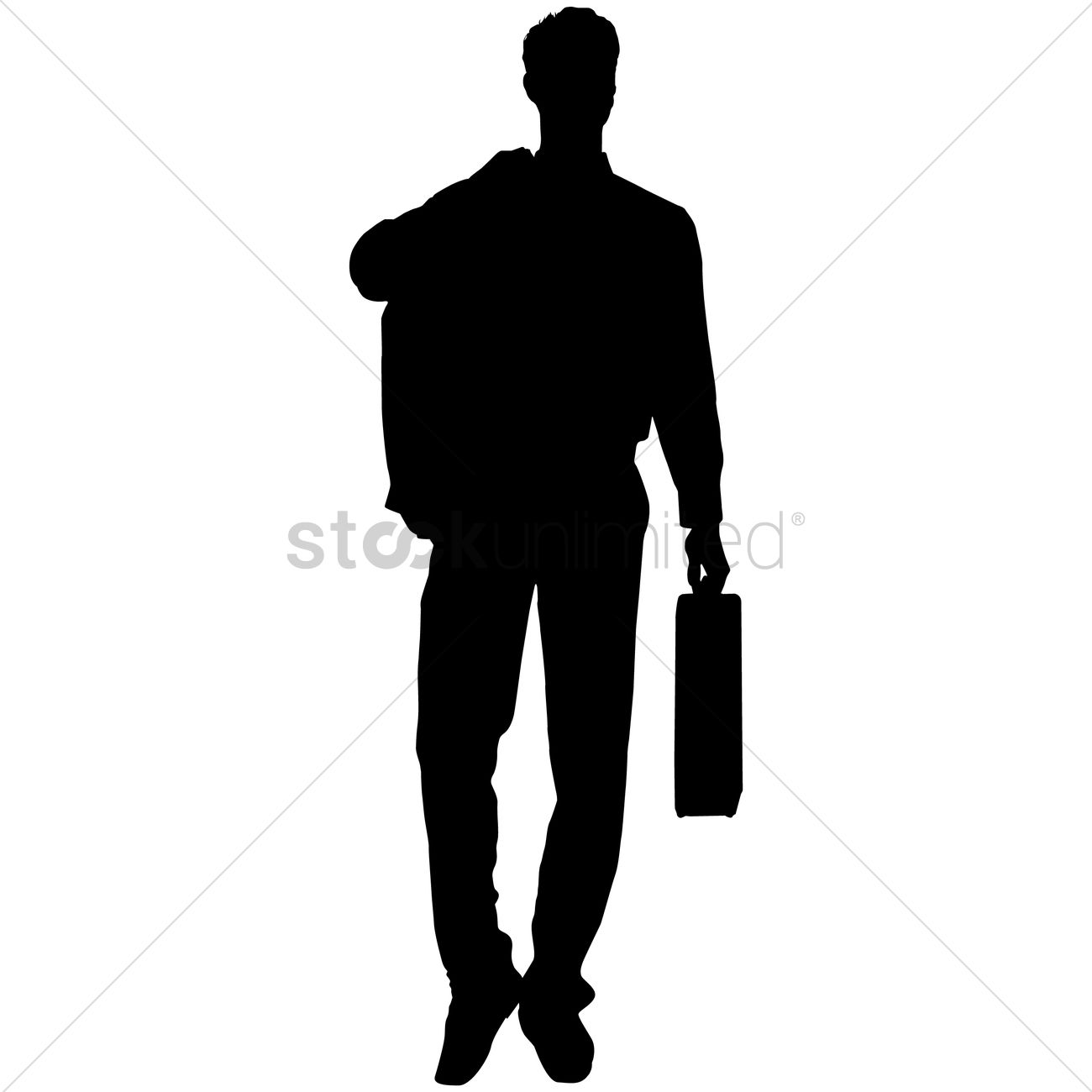 1300x1300 Businessman Holding Briefcase Silhouette Vector Image