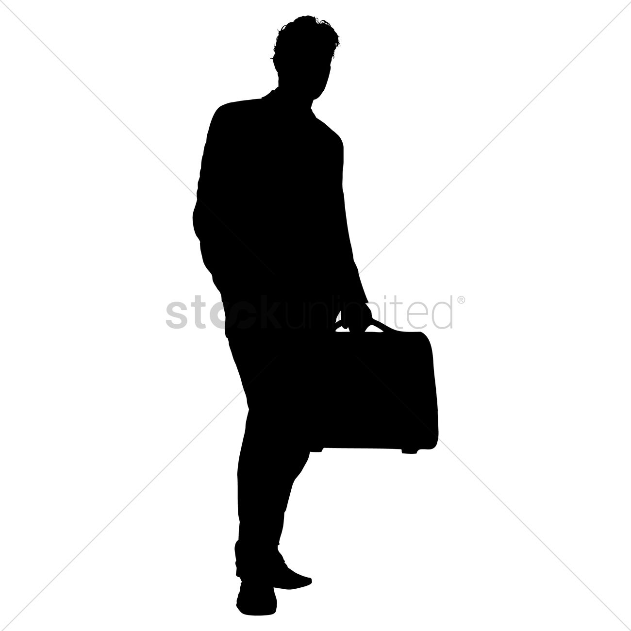 1300x1300 Businessman With Briefcase Silhouette Vector Image
